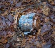 被放弃的交流发电机在森林丢失了 免版税库存照片