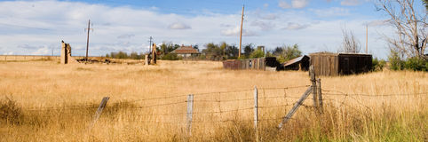 被放弃的全景城镇 免版税库存照片