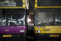 被放弃的公共汽车舰队 免版税库存照片