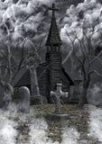 被放弃的公墓背景 免版税库存照片