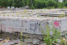 被放弃的具体未完成的建造场所 免版税库存图片