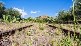 被放弃的农村铁路在西西里岛 库存图片