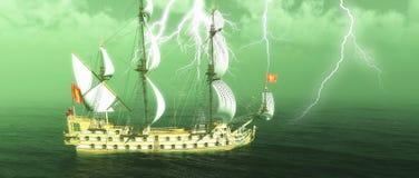 被放弃的历史的帆船在有雷击3d翻译的风雨如磐的海 免版税库存图片