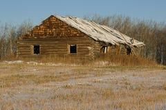 被放弃的原木小屋在冬天 免版税库存照片