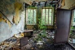被放弃的和被抛弃的公寓长得太大的室内部  图库摄影