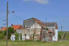 被放弃的和被拆毁的房子, Doel,比利时 免版税图库摄影