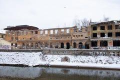 被放弃的大厦在萨拉热窝 库存照片