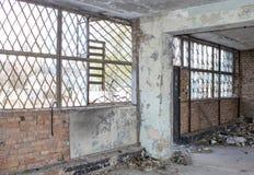 被放弃的大厦 内河港的废墟 库存图片