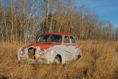 被放弃的奥斯汀轿车 免版税库存图片
