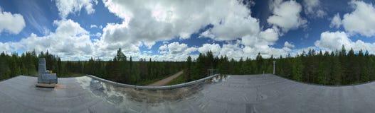 从被放弃的工厂厂房屋顶平台的360度全景在Varmland,瑞典 库存照片