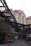 被放弃的工厂红色三角圣彼得堡 图库摄影