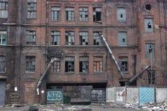 被放弃的工厂红色三角圣彼得堡 库存图片
