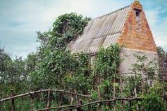 被放弃的房子在被忽略的庭院里 库存照片