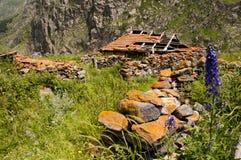 被放弃的房子在高加索 免版税库存照片