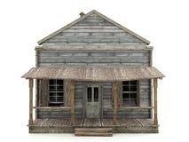 被放弃的房子被隔绝的正面图 免版税库存图片