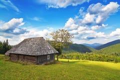 被放弃的木房子在山和森林。 库存照片