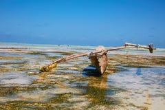 被放弃的木独木舟 免版税库存照片