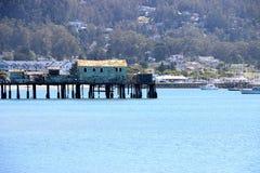被放弃的木码头,柱子点港口,加州 免版税图库摄影
