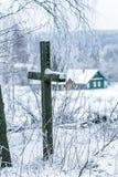被放弃的村庄的老公墓 免版税库存图片