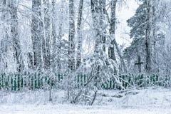 被放弃的村庄的老公墓 免版税库存照片