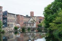 被放弃的棉布制造厂 免版税库存图片