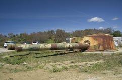 被放弃的沿海电池El Vigia,安大路西亚,西班牙 库存图片