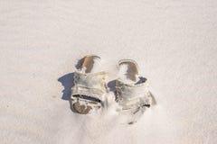 被放弃的海滩Sandals2 库存照片