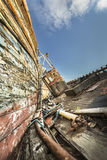 被放弃的渔船在马尔岛的Salen击毁 免版税库存图片