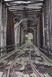 被放弃的火车桥梁垂直 免版税库存图片