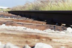 被放弃的火车路轨 库存图片