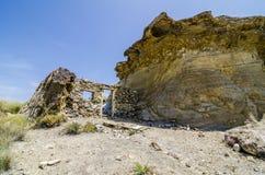 被放弃的电影地点在塔宾斯沙漠自行车赛沙漠 库存图片