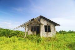 被放弃的老房子在蓝天下 免版税库存照片
