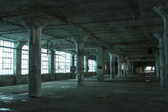 被放弃的蓝色地板 图库摄影
