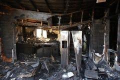被放弃的被烧的房子 免版税库存图片