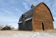 被放弃的谷仓和倒塌的原木小屋在冬天 免版税库存图片