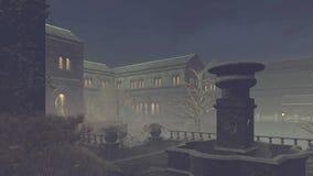 被放弃的豪宅在有薄雾的晚上 皇族释放例证