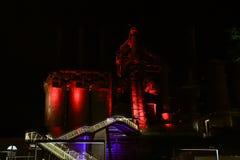 被放弃的钢铁厂老伯利恒钢铁厂夜场面 免版税图库摄影