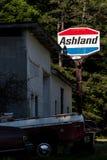被放弃的阿什兰加油站-肯塔基 免版税库存图片