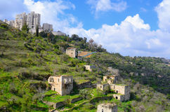 被放弃的阿拉伯村庄 库存照片