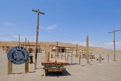 被放弃的Humberstone和圣劳拉硝石工作工厂,在伊基克附近,北智利,南美 转换 免版税图库摄影