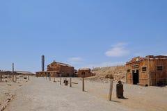 被放弃的Humberstone和圣劳拉硝石工作工厂,在伊基克附近,北智利,南美 免版税图库摄影