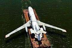 被敲的空中飞机平台 免版税库存图片