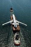 被敲的空中飞机平台 图库摄影