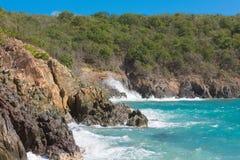 被日光照射了加勒比海滩4 库存图片