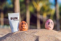 被晒伤的鸡蛋抹上了遮阳纸,并且被烧的鸡蛋未被抹上 烧在阳光下,从太阳的奶油 免版税库存图片