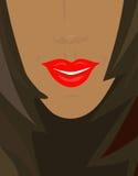 被晒黑的嘴唇红色性感的皮肤微笑 免版税库存图片