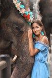 被晒黑的妇女和大大象特写镜头一起 库存照片