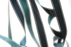 被暴露的被展开的35mm影片小条  免版税库存照片