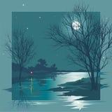 被月光照亮晚上 向量例证