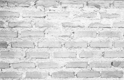 被构造的老白色砖墙样式 抽象黑白背景 库存照片